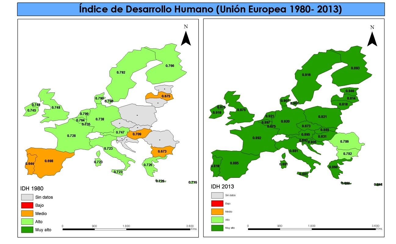Evolución IDH de España y la UE