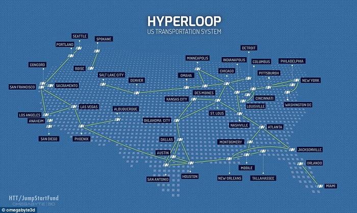 Rutas previstas para el Hyperloop en EEUU