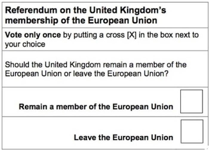 permanencia deEjemplo de la papeleta usada en Reino Unido para la consulta sobre la permanencia en la Unión Europea.