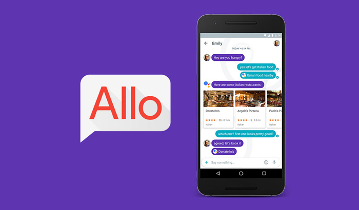 Imagen de la aplicación Google Allo, ejemplo de inteligencia artificial y machine learning de su asistente Google Assitant..