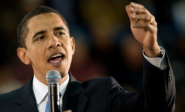 Obama practicando la oratoria