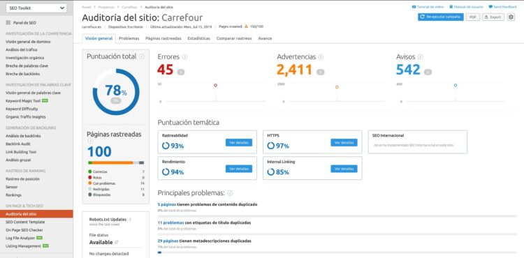 Auditoria de un sitio en Semrush
