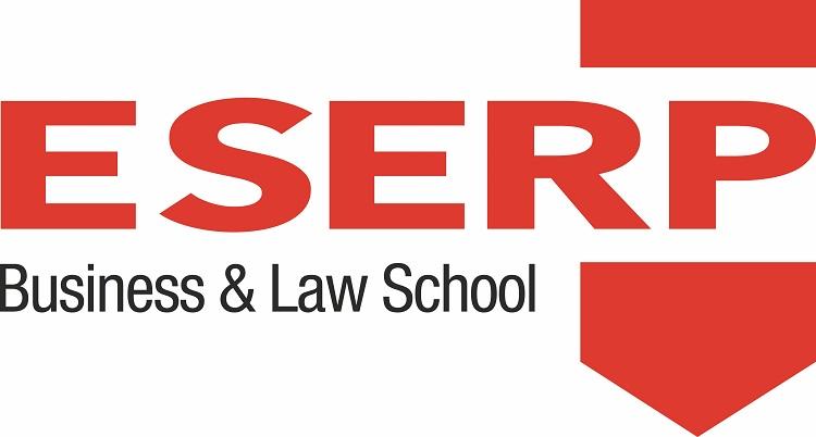 El logo de ESERP Business School combina rojo y negro en un diseño potente y elegante