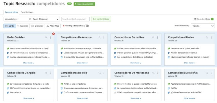 Topic Research de competidores en Semrush